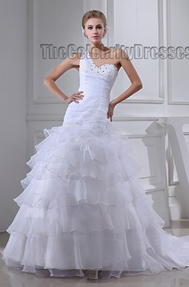 Celebrity Inspired One Shoulder Beaded A-Line Wedding Dress