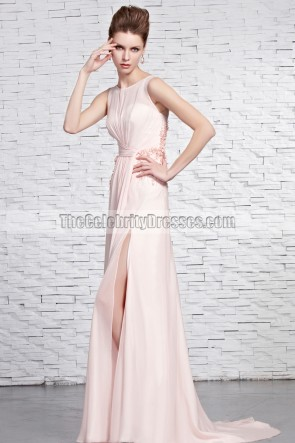 Celebrity Inspired Pink Formal Dresses Military Prom Gown