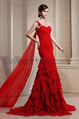 Celebrity Inspired Red One Shoulder Formal Dress Evening Dresses