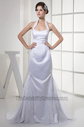Celebrity Inspired Sheath Column Halter Satin Wedding Dress
