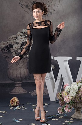 Celebrity Inspired Short Black Long Sleeve Party Dresses