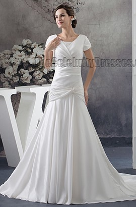 Celebrity Inspired Short Sleeve Sweep Brush Train Wedding Dress