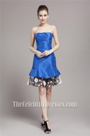 Celebrity Inspired Short Strapless Party Homecoming Dress