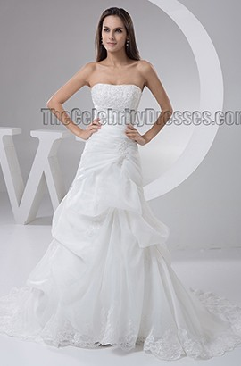 Celebrity Inspired Strapless A-Line Chapel Train Wedding Dress
