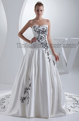 Celebrity Inspired Strapless A-Line Embroidered Chapel Train Wedding Dress