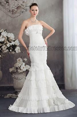 Celebrity Inspired Strapless Mermaid Lace Wedding Dress