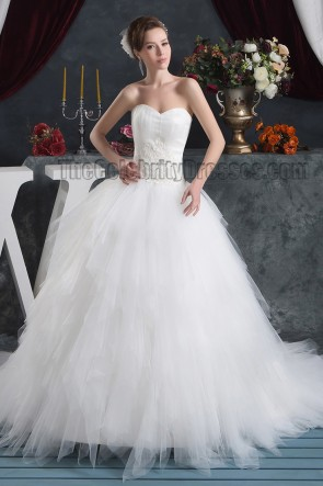 Celebrity Inspired Strapless Sweetheart Ball Gown Chapel Train Wedding Dress