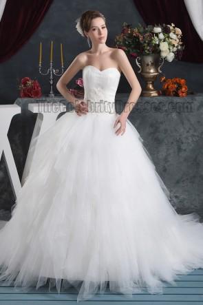 Celebrity Inspired Strapless Sweetheart Ball Gown Chapel Train Wedding Dress