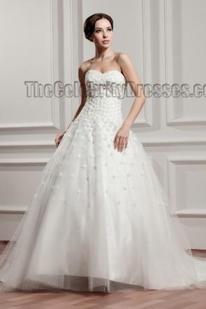 Celebrity Inspired Sweetheart Strapless A-Line Beaded Wedding Dress