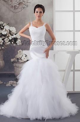Celebrity Inspired Trumpet /Mermaid Embroidered Wedding Dresses