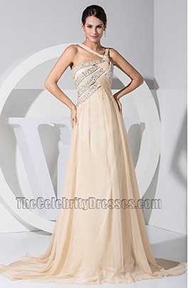 Chic Champagne Chiffon A-Line Prom Dress Evening Dresses