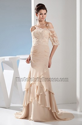 Champagne Lace Chiffon Off-The-Shoulder Formal Gown Evening Dress