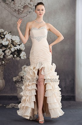 Champagne Strapless Mermaid Ruffles Formal Dress Evening Gown
