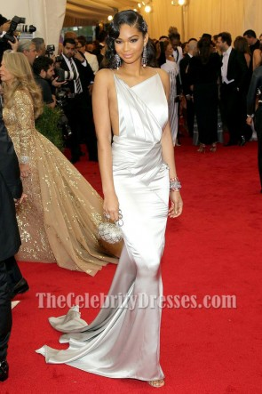 CHANEL IMAN MET GALA 2014 Silver Mermaid Backless Evening Dress TCD7194
