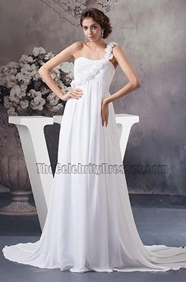 Chapel Train A-Line Chiffon One Shoulder Wedding Dress With Flowers