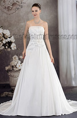 Discount Chapel Train A-Line Strapless Wedding Dress