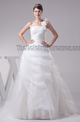 Chapel Train Ball Gown One Shoulder Organza Wedding Dress