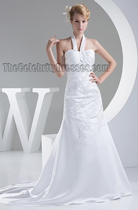 Chapel Train Halter A-Line Embroidered Wedding Dresses