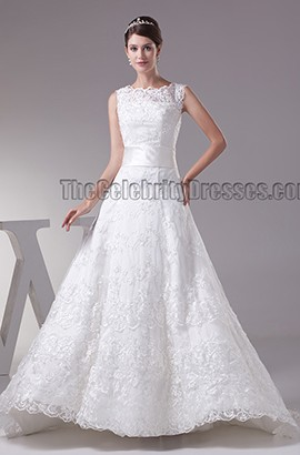 Chapel Train Lace A-Line Sleeveless Lace Up Wedding Dresses