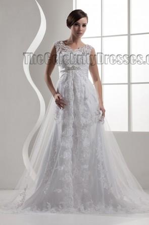 Chapel Train Lace Beaded V-Neck Wedding Dresses