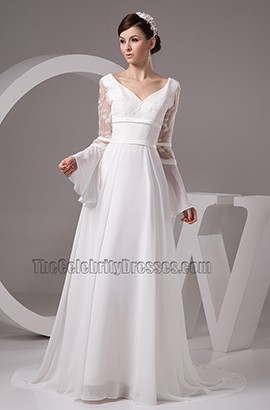 Chapel Train Long Sleeve Wedding Dress Bridal Gown