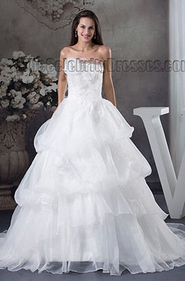 Chapel Train Strapless Ball Gown Organza Wedding Dress