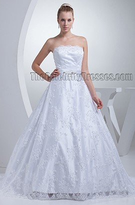 Chapel Train Strapless Lace A-Line Wedding Dress