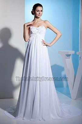 Chapel Train Strapless Sweetheart Chiffon A-Line Wedding Dress