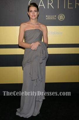 Charlotte Casiraghi Gray Prom Dress 'Cartier Exhibition' Gala Presentation