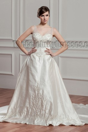 Discount Chapel Train A-Line Embroidered Wedding Dresses