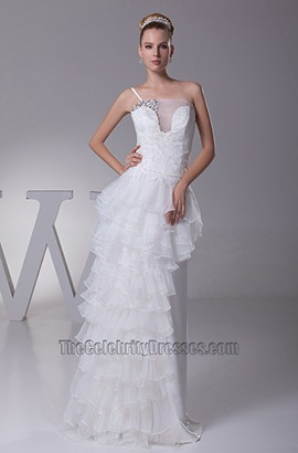 Chic Asymmetric One Strap Floor Length Wedding Dress