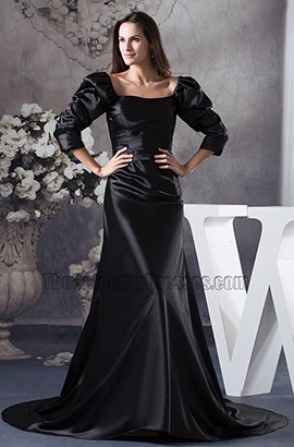 Chic Black Long Sleeve Sweep/ Brush Train Formal Dresses