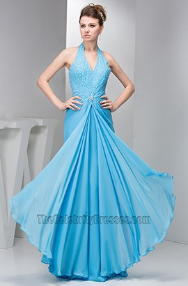 Chic Blue Halter Chiffon Prom Gown Evening Formal Dresses