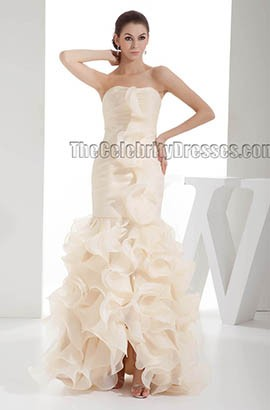 Chic Champagne Strapless Floor Length Ruffles Wedding Dress