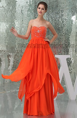 Chic Orange Beaded Sweetheart Prom Gown Evening Formal Dress