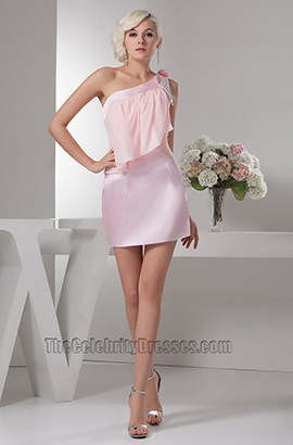 Chic Pink One Shoulder Party Cocktail Homecoming Dresses