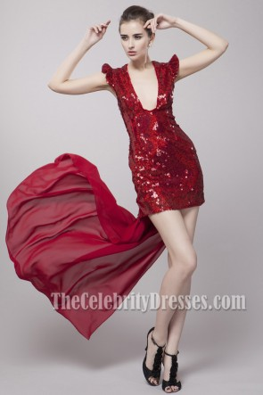 Sexy Red Sequined Hi Low Party Dress Prom Gown
