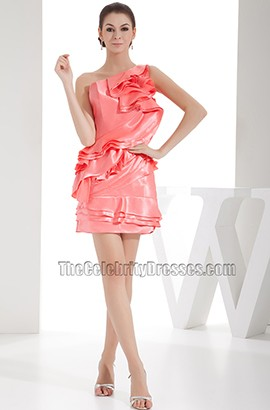 Chic Short One Shoulder Party Cocktail Homecoming Dress