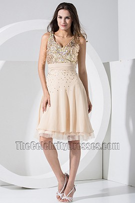 Chic Short Chiffon V-neck Sequins Party Dress Homecoming Dresses