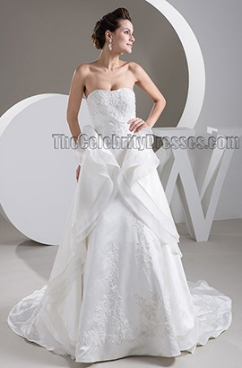 Chic Strapless Embroidered Chapel Train A-Line Wedding Dresses