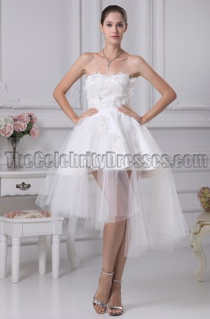 White Strapless Short Party Homecoming Dresses