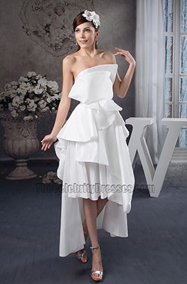 Romantic Strapless Floor Length Taffeta Wedding Dress Bridal Gown