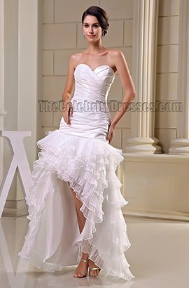 White Strapless Sweetheart High Low Evening Dress Prom Gown