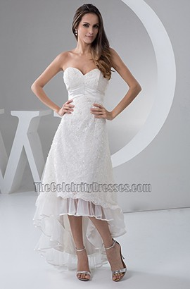 Chic Sweetheart Strapless Hi-Low Wedding Dress