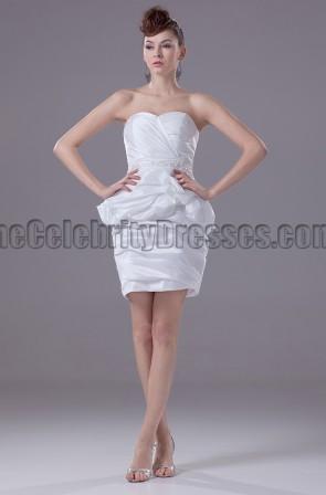 Chic White Strapless Short Party Graduation Dresses
