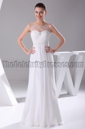 Chiffon A-Line Floor Length Bridal Gown Wedding Dresses