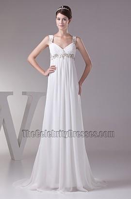 Celebrity Inspired Chiffon A-Line Sweep/Brush Train Wedding Dresses