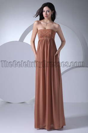 Discount Strapless Beaded Prom Gown Evening Dresses