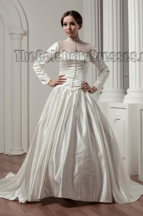 Classic Long Sleeve A-Line Chapel Train Wedding Dresses