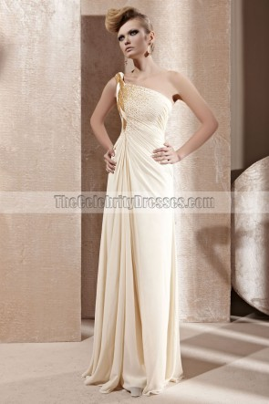 Cream One Shoulder Beaded Chiffon Prom Dress Evening Gown